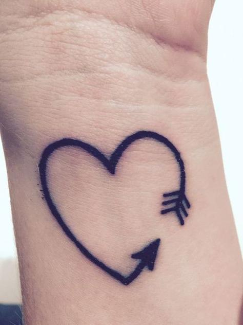 Heart Arrow Tattoo On a Wrist