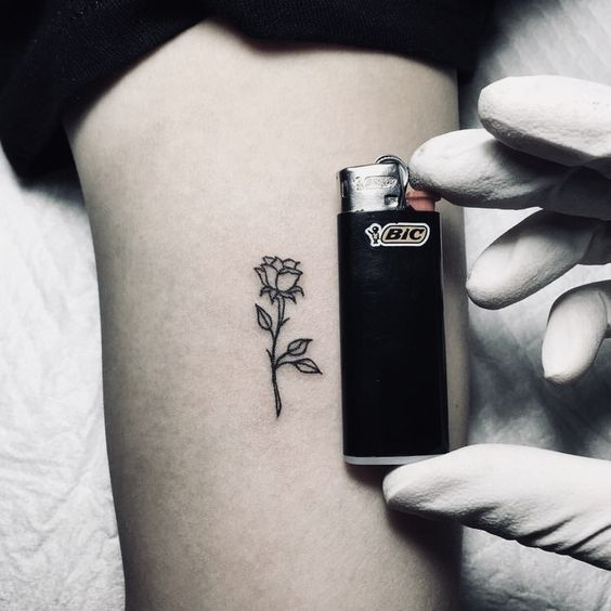 Small Black Rose Tattoo