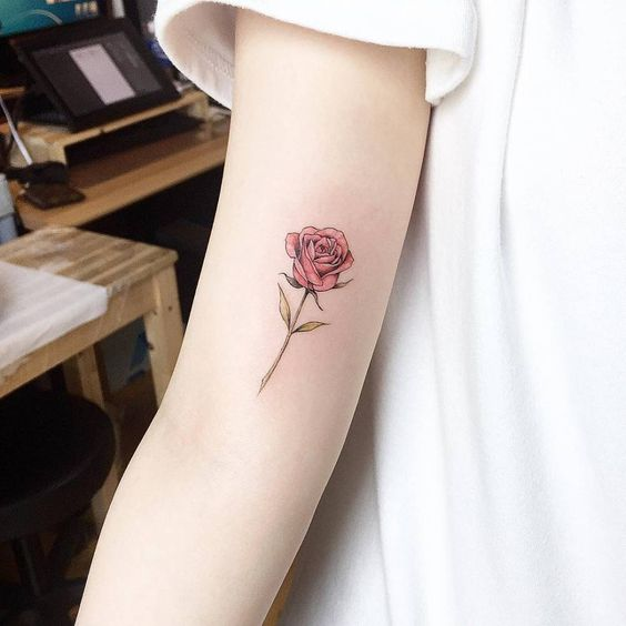 Small Red Rose Tattoo On inner Forearm