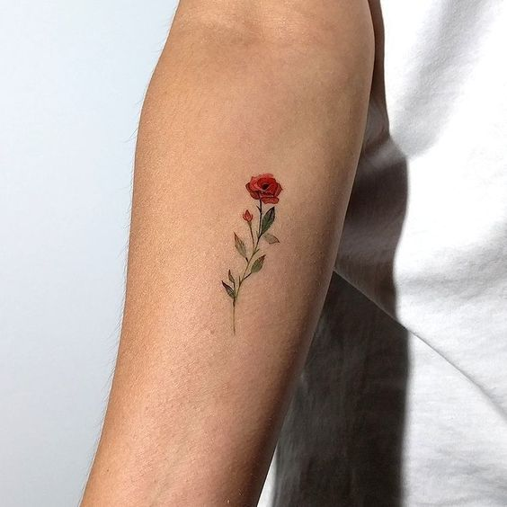 Small Red Rose Tattoo by Artist Lena Fedchenko