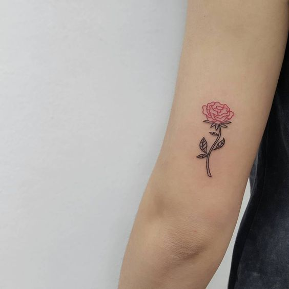 Small pink Rose Tattoo by isaarttattoo