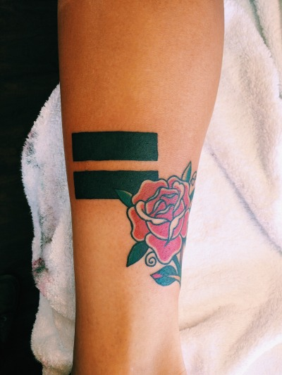 Another equal sign tattoo with a rose on the arm