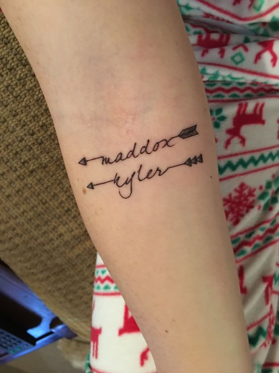 Arrow tattoo with children names