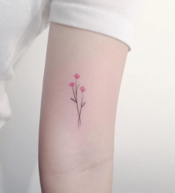 Fine line flower tattoo by playground_tat2