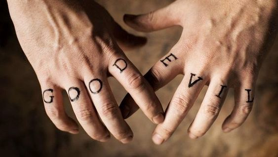 Good and evil finger tattoo