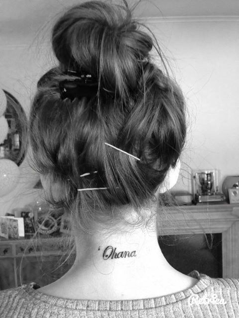 Gorgeous Ohana tat on the back of the neck