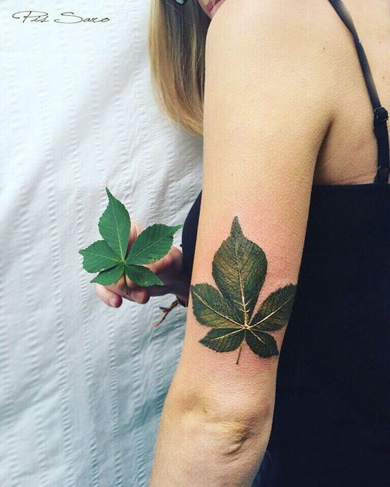 Green leave tattoo on the sleeve