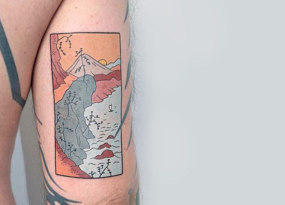 Japanese-inspired wood block tattoo on arm