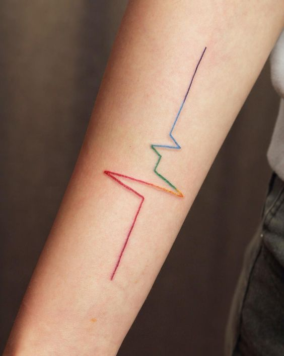 LGBT heart rate tattoo