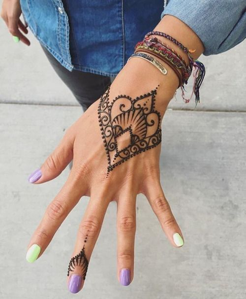 Lotus Flower Henna Tattoo on the Hand
