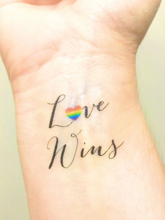 Love wins temporary LGBT tattoo on the wrist