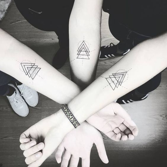 Matching triangles family tattoo