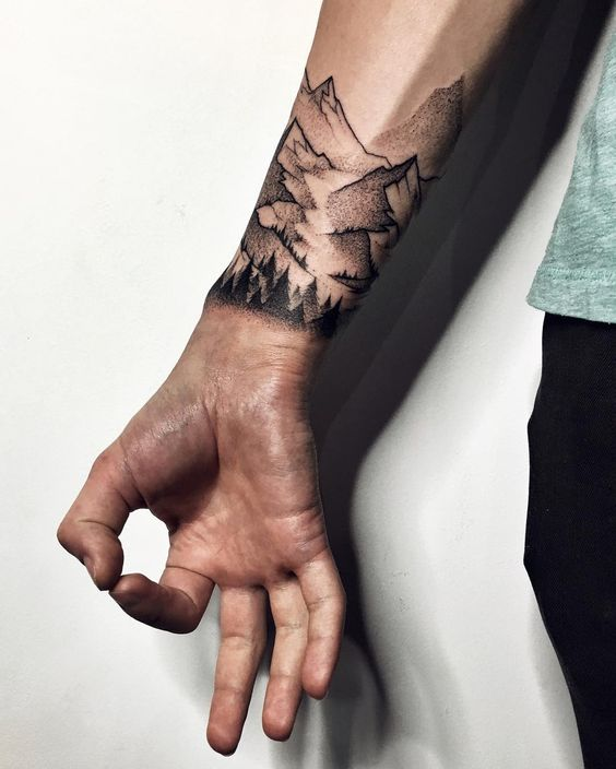 Mountains tattoo on the wrist