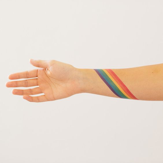 Rainbow armband tattoo idea