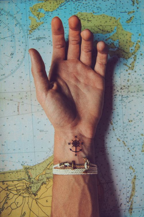 Small Compass Tattoo On A Wrist