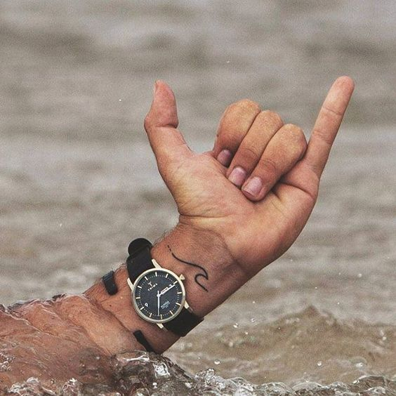Small Wave Tattoo On The Wrist
