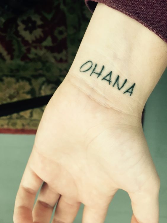 Small ohana on the inner wrist