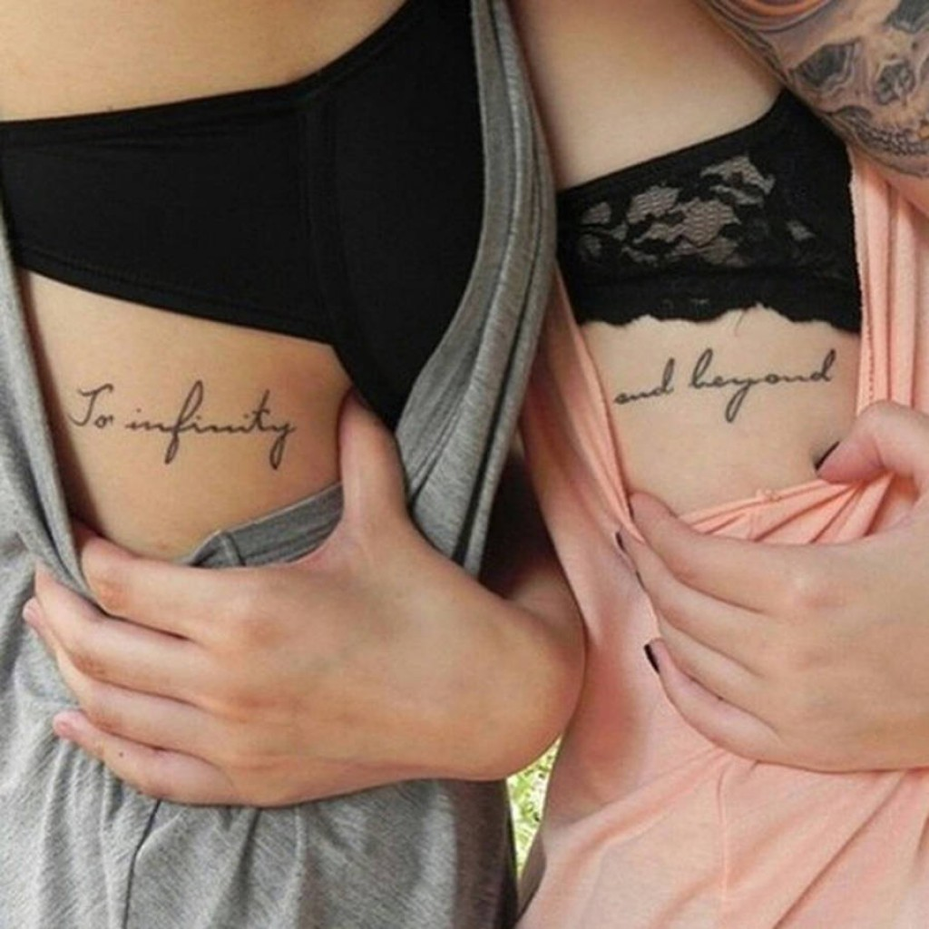 To infinity and beyond matching rib tattoo