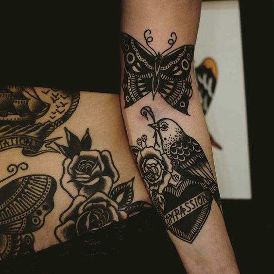 Traditional black tattoos