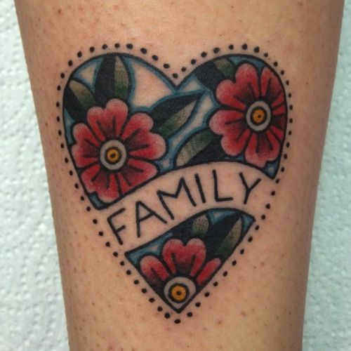 Traditional style family tattoo