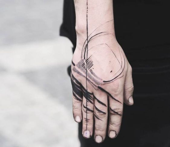 Abstract hand tattoo idea