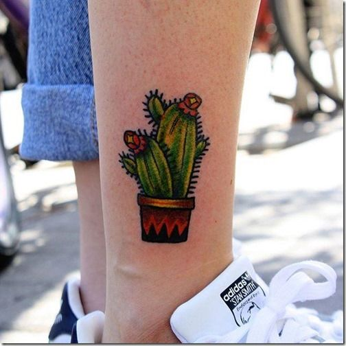 Another small traditional cactus tattoo