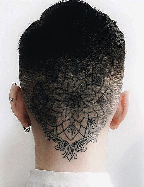 Black mandala tattoo on the back of the neck and the head