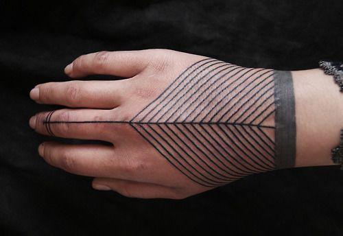 Chevron tattoo on the hand