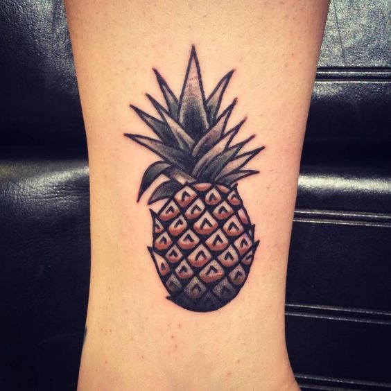 Classic pineaple tattooo on the ankle