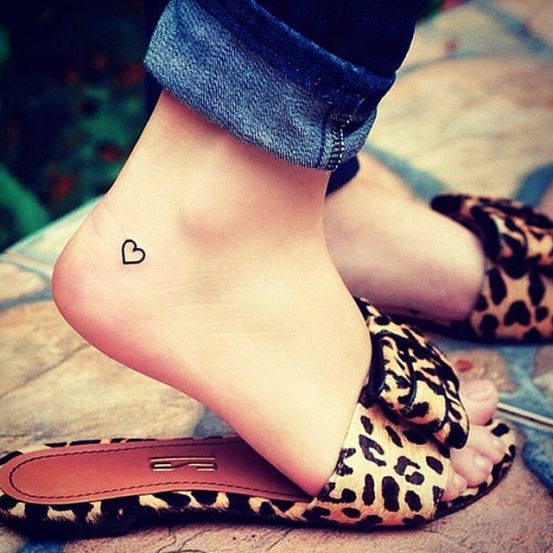 Cute heart tattoo on the outer ankle