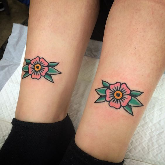 Flower tattoos in traditional style
