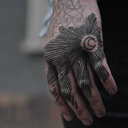 Hand tattoo by Halb Stark
