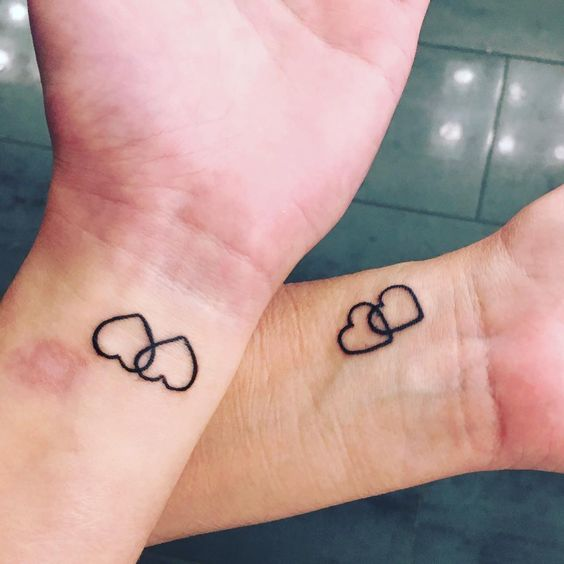 Mother and daughter tattoo idea - two hearts