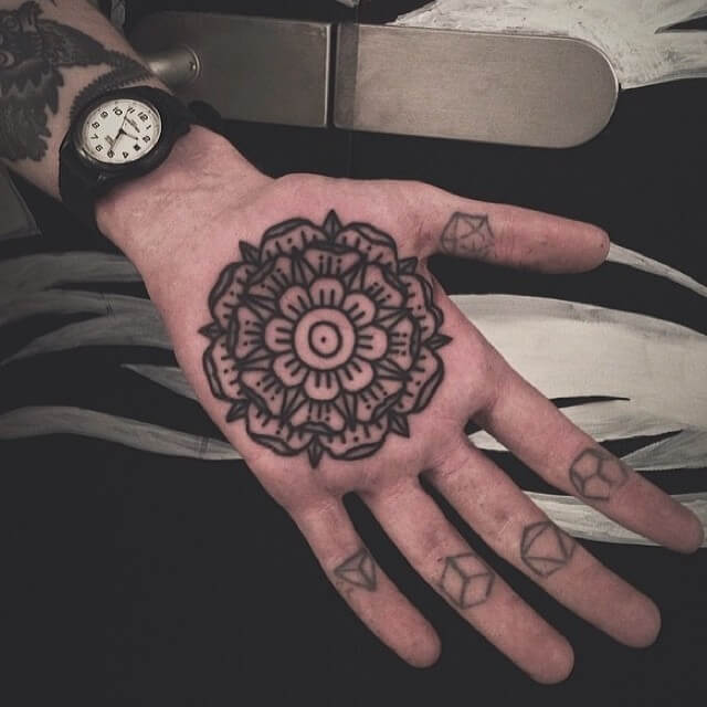 Palm is another great placement for a mandala tattoo