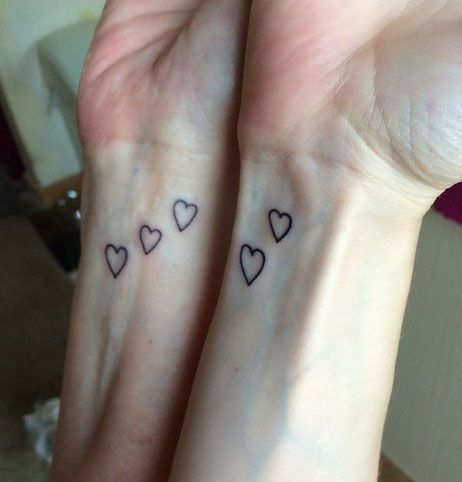 Small heart tattoos on both wrists