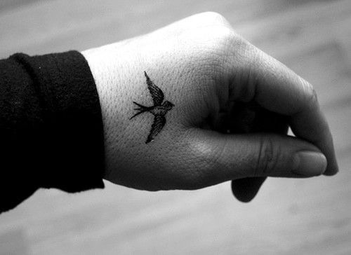 Sparrow tattoo on the hand