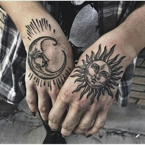 Sun and moon tattoo on both hands
