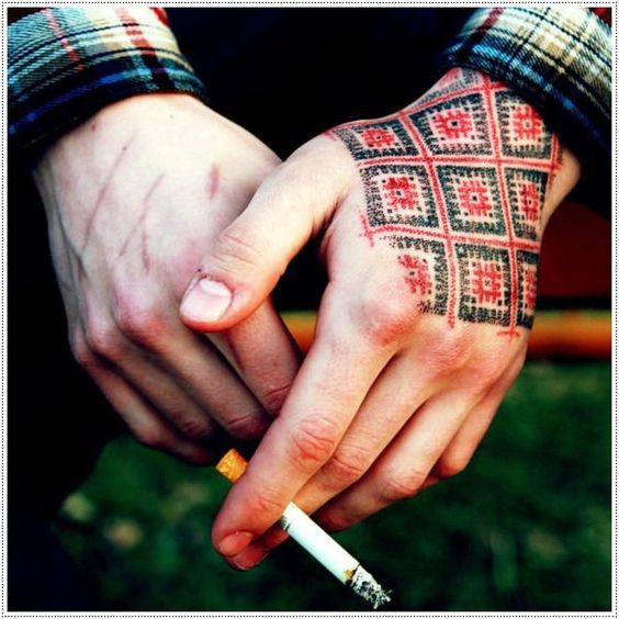 Traditional Croatian pattern tattoo on the hand