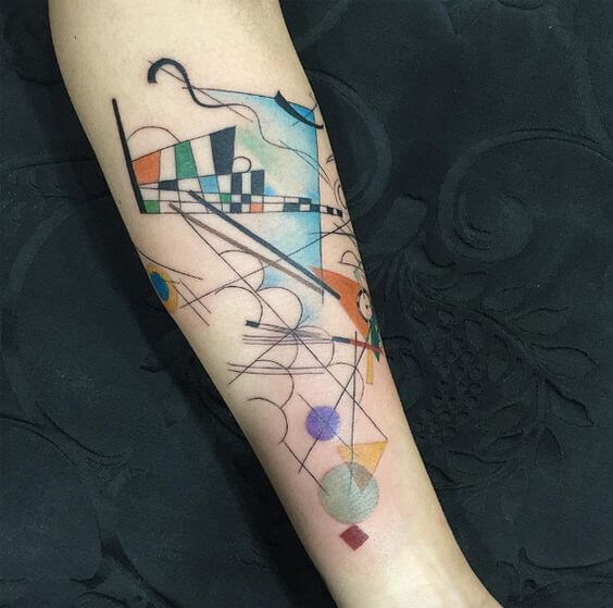 Abstract art tattoo on the inner arm