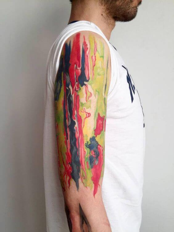 Abstract mixed colors sleeve tattoo design