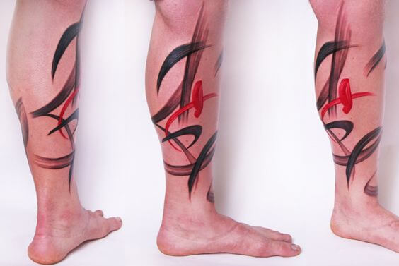 Abstract tattoo on the leg by Amanda Wachob