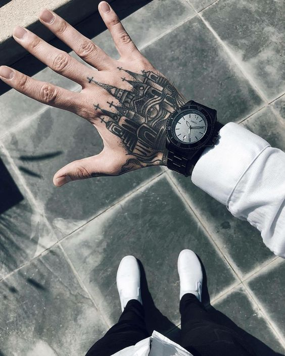 Small Church Tattoo: Hand Tattoos For Men: Discover 50+ Awesome Hand Ink Examples