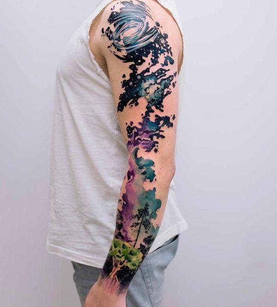 Galaxy sleeve tattoo