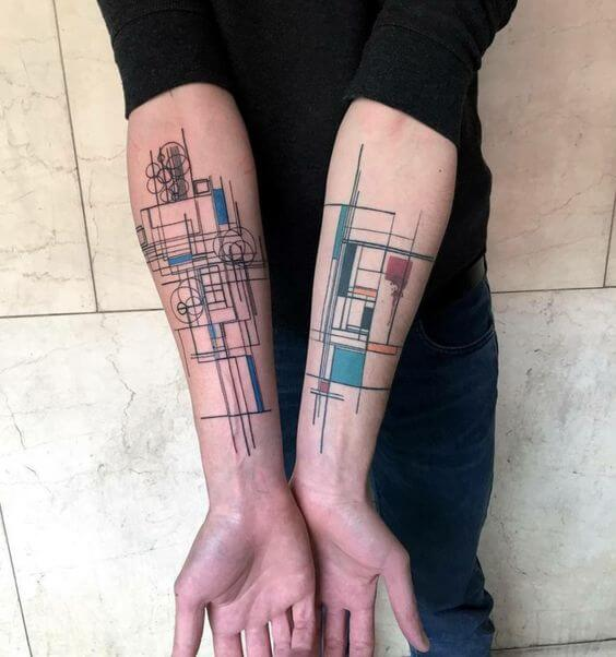 Geometric abstract tattoo on inner arms