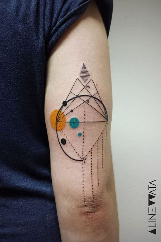 Lines and colorful circles tattoo composition
