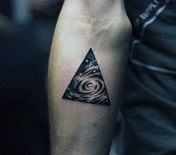 Milkyway galaxy tattoo in a triangle
