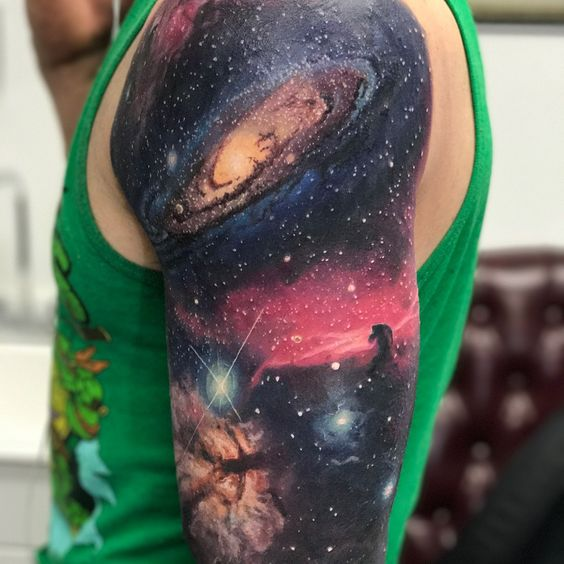 Realistic galaxy tattoo