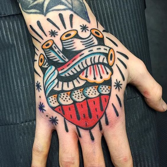 Traditional hand tattoo of a hand