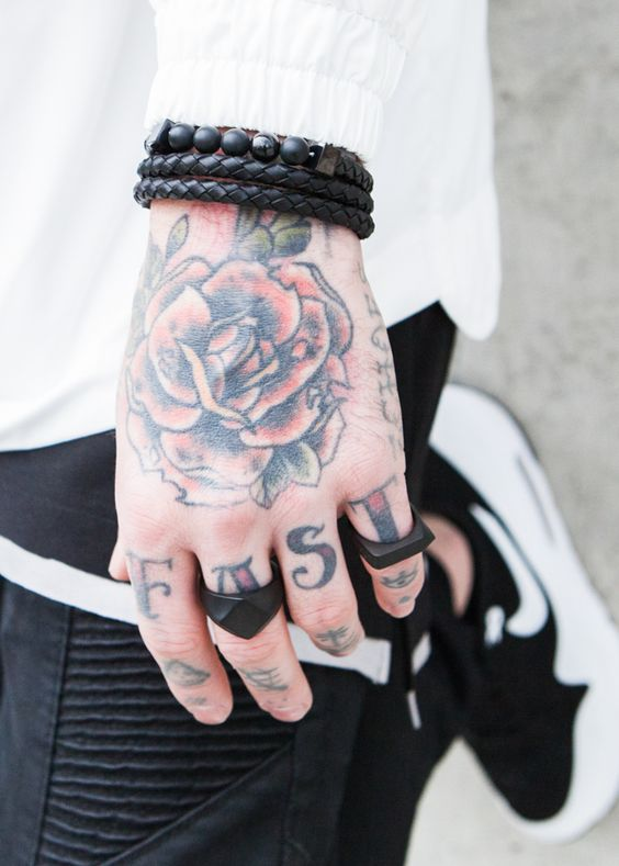 Traditional rose tattoo on hand for guys