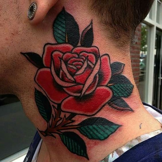 American traditional rose tattoo on the neck